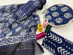blue pure cotton salwar suit set