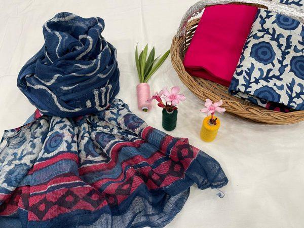 Magenta and blue floral print kota doria dupatta suits