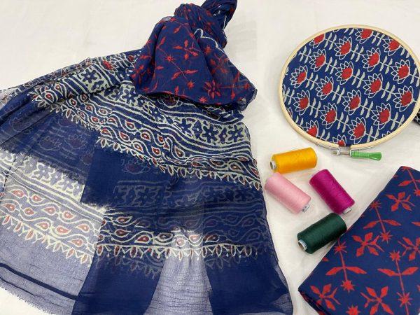Blue pure cotton salwar suits online