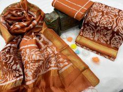 Brown maheshwari silk suit set with dupatta