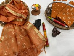 Brown cotton suit with heavy dupatta