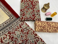 Burgundy printed salwar suit with dupatta