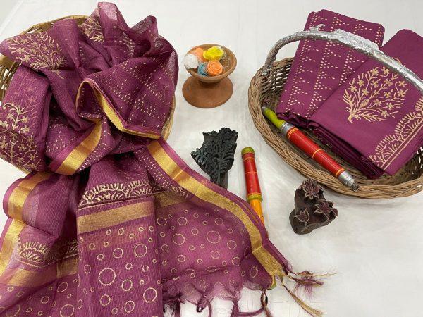 Rouge cotton suit with kota silk dupatta