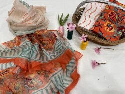 orange floral print cotton suits with kota doria dupatta