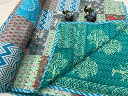Light Teal Blue cotton Hand stitched AC Quilt Dohar Patch work