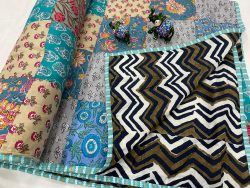 cyan and blue cotton Hand stitched AC Quilt Dohar Patch work