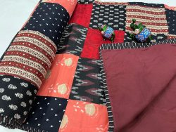 Black Hand stitched AC Quilt Dohar Patch work