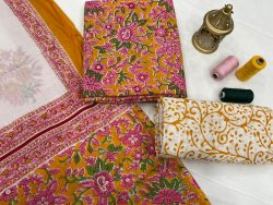 Magenta And white unstitched cotton suits online shopping