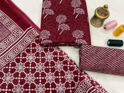 Burgundy cotton dupatta suits wholesale