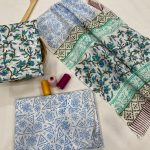 Cyan floral print cotton dupatta suits wholesale