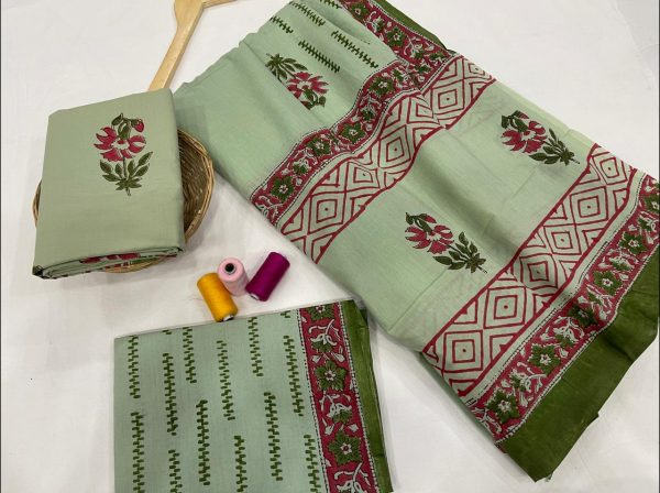 Dull green floral mugal print cotton suit with cotton dupatta