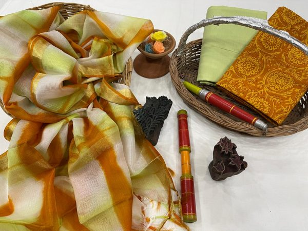 Dull Green and brown cotton and silk salwar suits