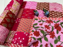 Pink cotton Hand stitched AC Quilt Dohar Patch work