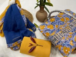 Yellow and blue cotton unstitched embroidered salwar kameez
