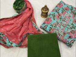 Cyan and pink gota embroidered suit online india