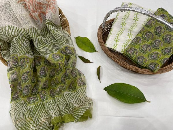 Dull Green kota doria suits online india