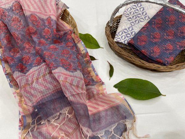 Amethyst blue kota doria suits in jaipur