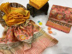 salmon and yellow floral print maheshwari silk suit set