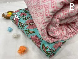 Cyan and pink cotton running fabric