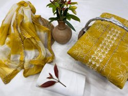 Goldenrod amber Cotton printed gota hand work suit set