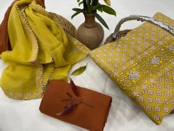 Goldenrod amber Gota Embroided cotton suit with chiffon dupatta