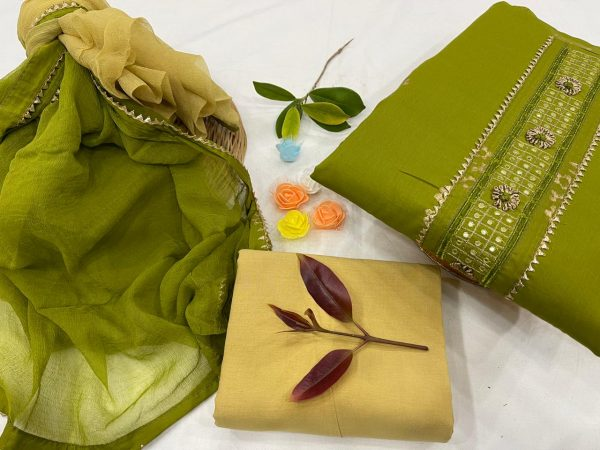 Green Citrus gota embroidery suit new look with chiffon dupatta