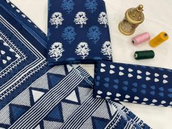 navy blue printed salwar suit with dupatta