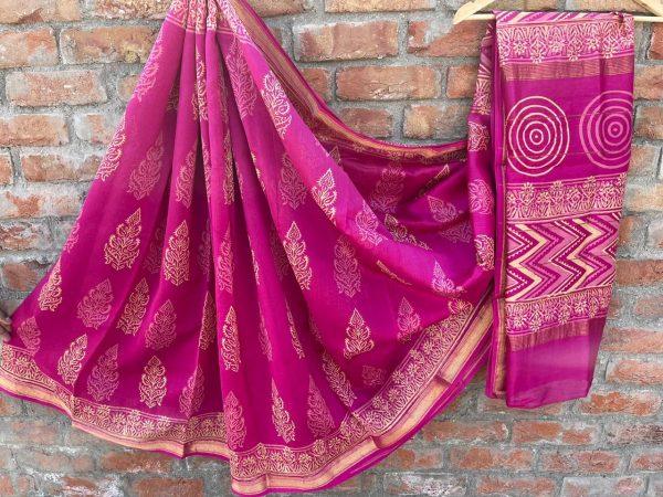 Magenta Maheshwari printed saree wholesale