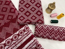 Burgundy pure cotton suits with cotton dupatta
