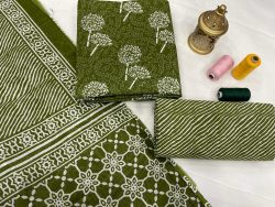 Dark Olive Green unstitched cotton dupatta suit