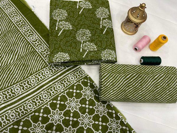 Dark Olive Green unstitched cotton dupatta suit