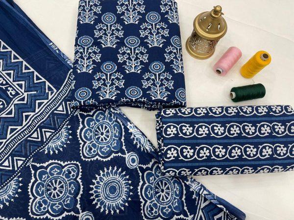 blue cotton dupatta suits wholesale