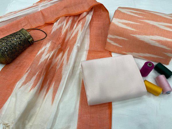 Deep Carrot Orange ikkat suit set