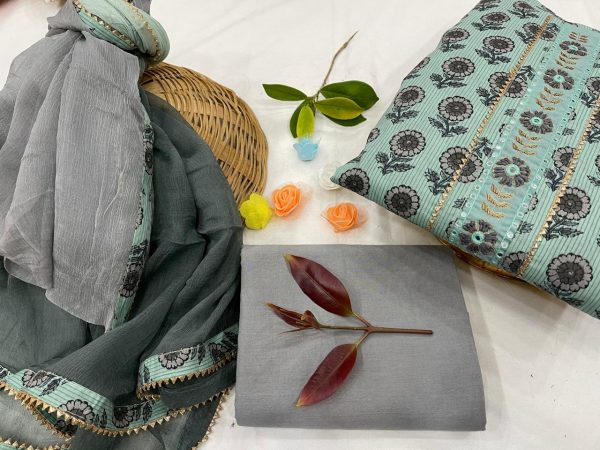 Baby blue and slate gray gota Hand work cotton embroidery suits price
