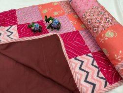 Maroon Hand stitched AC Quilt Dohar Patch work