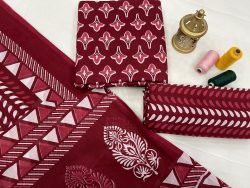 Burgundy cotton dupatta salwar suits