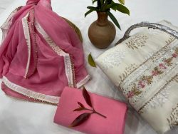 pink and off white cotton unstitched embroidered salwar kameez