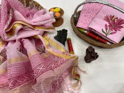 Pink cotton suit with kota silk dupatta set