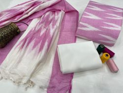 Orchid and white hand block printed ikkat suit set