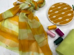 Dull Green and Goldenrod amber cotton suit with chiffon dupatta
