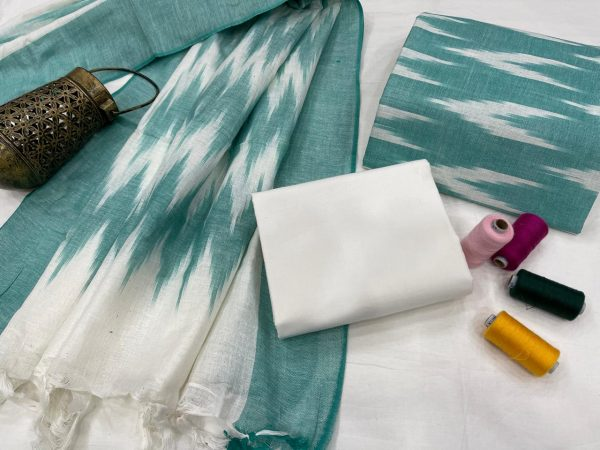 Light Teal Blue jaipuri ikkat suit set