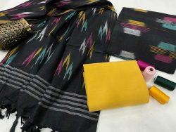 Black and yellow jaipuri ikkat suit set