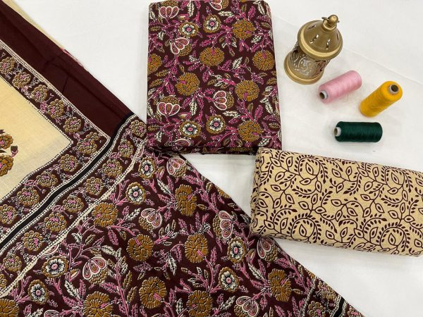 Medium Burgundy cotton dupatta suits online