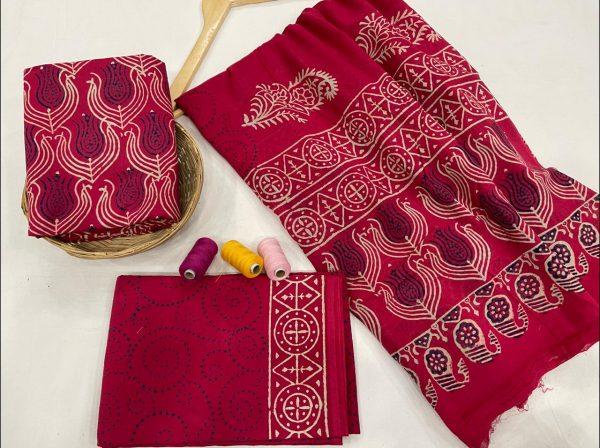 Crimson cotton suits with cotton dupatta