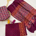 Rouge floral print cotton suit with bandhani dupatta