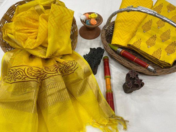 Lemon cotton suit with silk dupatta