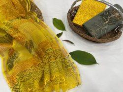 yellow and gray kota doria salwar suits