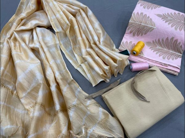 Copper Yellow and light pink cotton suit with chanderi dupatta
