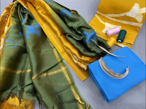 Azure and yellow salwar suit with chanderi dupatta online