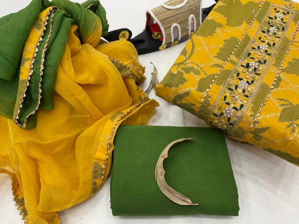 Amber and green embroidery salwar suit piece with chiffon dupatta